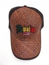 Lauhala Baseball Cap with Hawaiian Flag - Jawaiian Lettering - Limited Special Edition - Product Image