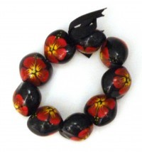 Painted Kukui Nut Bracelet/Anklet - Red - Product Image