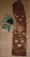 Hawaiian Tikis and Wooden War Masks