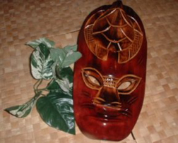 War Mask: Single Sea Turtle in Red Mako Wood - Product Image