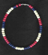 Patriotic coconut shell anklet - Product Image