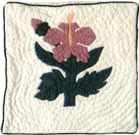 Pillow Covering: Single Pink Hibiscus  - Product Image