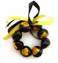 Painted Kukui Nut Bracelet/Anklet - Yellow - Product Image
