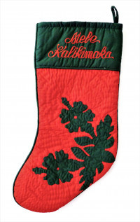Christmas Stocking: Hawaiian Quilted Christmas Stocking with Hibiscus - Model 6 - Product Image