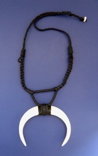 Double Boar's Tooth Necklace: Black - Product Image
