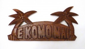 Hanging Sign: E Komo Mai (Welcome) w/ Palm Trees - Product Image