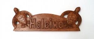 Hanging Sign: Haleiwa Sign w/ Sea Turtles - Product Image