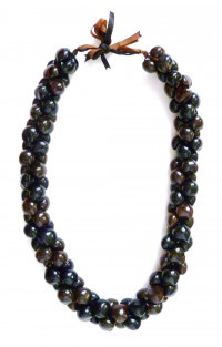 Kukui Nut 3-Strand Lei - Black/Brown - Product Image