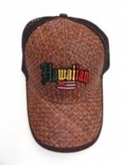 Lauhala Baseball Cap Hawaiian Flag - Jawaiian Lettering - Product Image