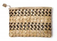 "Lauhala Clutch Purse - Double Stripe 9""x6"" - Product Image"