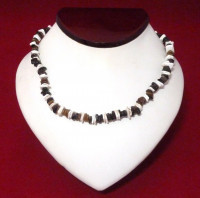 Necklace: Brown, Black, and White Puka Shell - Product Image