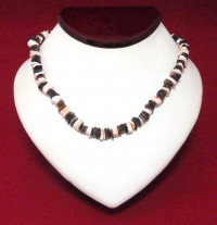 Necklace: Brown, White, Peach Puka Shell - Product Image