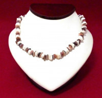 Necklace: Brown, White, Tan Puka Shell - Product Image