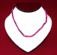 Necklace: Crimson/Pink Cut Shell - Product Image