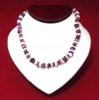 Necklace: Dark Pink and White Puka Shell  - Product Image