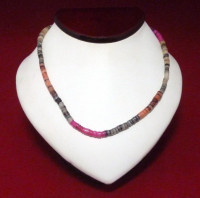 Necklace: Fuchsia/Orange/Gray Cut Shell - Product Image