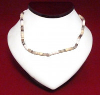 Necklace: Gray/White/Tan/Brown Cut Shell - Product Image