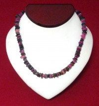 Necklace: Purple, Crimson, Pink Puka Shell - Product Image