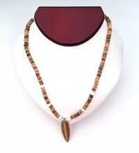 Necklace: Surfboard pendant on coconut shell  - Product Image