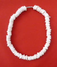 Necklace: White Surfer's Hand-Strung Big Shell Model 1 - Product Image