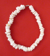 Necklace: White Surfer's Hand-Strung Giant Puka Shell Model 2 - Product Image