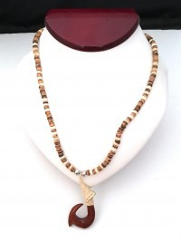 Necklace: Wooden Fishhook Pendant on Coconut - Product Image