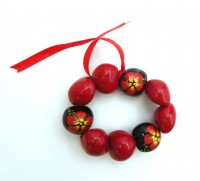 Painted Kukui Nut Bracelet/Anklet - Red /Black - Product Image