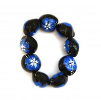 Painted Kukui Nut Bracelet/Anklet - Blue - Product Image