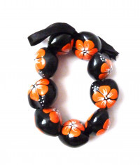 Painted Kukui Nut Bracelet/Anklet - Orange - Product Image
