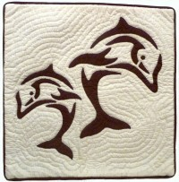 Pillow Covering: Dual Dolphins in Brown/White - Product Image