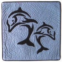 Pillow Covering: Dual Dolphins in Navy/Slate Blue - Product Image