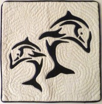 Pillow Covering: Dual Dolphins in Navy/White - Product Image