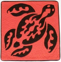 Pillow Covering: Fiji Sea Turtle in Red/Black - Product Image