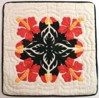 Pillow Covering: Four Hibiscus in Four Colors - Product Image