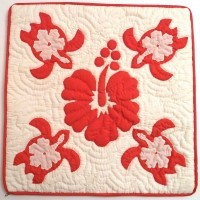 Pillow Covering: Sea Turtles & Hisbiscus in Red/White  - Product Image