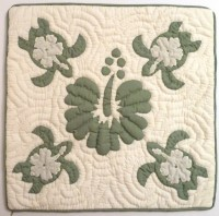 Pillow Covering: Sea Turtles & Hibiscus  - Light Green on White Background - Product Image