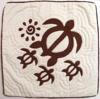 Pillow Covering: Sea Turtles & Sun in Brown/White  - Product Image