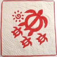 Pillow Covering: Sea Turtles & Sun in Red/White - Product Image