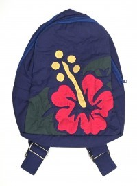 Quilted Backpack: Blue w/ Red Hibiscus - Medium Size - Product Image