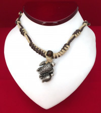 Sea Turtle Necklace - Double Etched Full Shell - Product Image