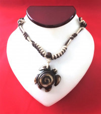 Sea Turtle Necklace - Swirl pattern in Brown # 1 - Product Image