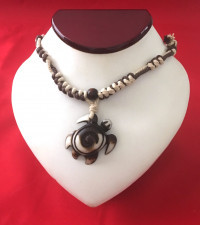 Sea Turtle Necklace - Swirl pattern in Brown # 2 - Product Image