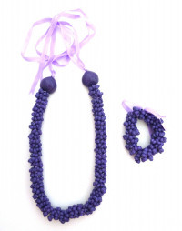 Shell: Popcorn Shell Choker Lei & Bracelet - Purple - Product Image