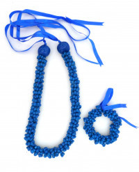 Shell: Popcorn Shell Choker Lei & Bracelet - Royal Blue - Product Image