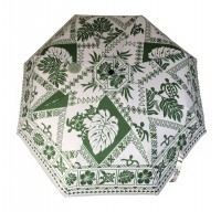 Umbrella: Hawaiian Floral Print - Green & White - Product Image