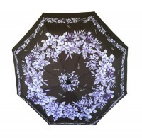 Umbrella: Hawaiian Floral Print - Purple & Black - Product Image