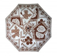 Umbrella: Hawaiian Floral Print - Tan & White - Product Image
