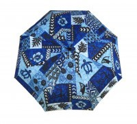 Umbrella: Hawaiian Floral Print with Tats - Blue, Black, White - Product Image