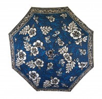 Umbrella: Hawaiian Floral Print with Tats - Blue, Tan, Black, White - Product Image
