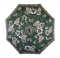 Umbrella: Hawaiian Floral Print with Tats - Green, Black, Tan, White - Product Image